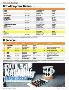 utah business book of lists 2018 office equipment dealers it