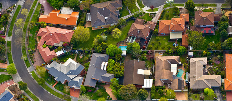 Rows of Houses Aerial Photo
