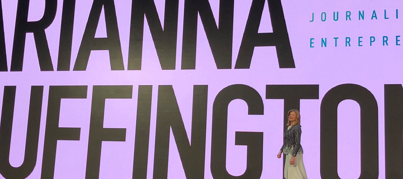 Arianna Huffington speaks on corporate burnout at the 2018 Qualtrics Summit